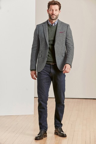 Grey Slim Fit Moons Signature British Wool Donegal Jacket