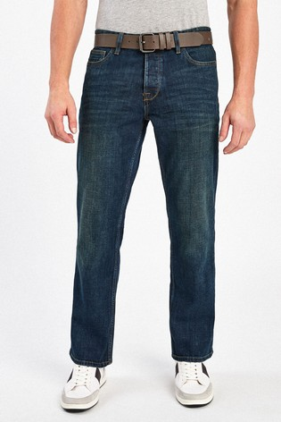 Dirty Wash Bootcut Fit Belted Jeans With Stretch