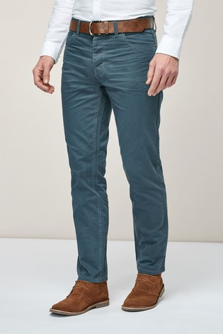 Blue Straight Fit Belted Jeans