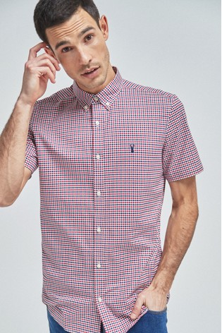Red Stretch Gingham Short Sleeve Shirt