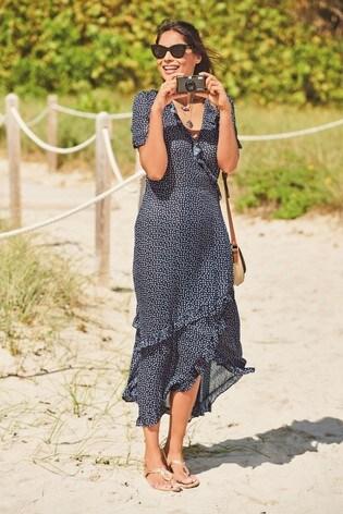 Navy Print Wrap Maxi Dress