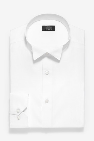 White Skinny Fit Single Cuff Wing Collar Shirt