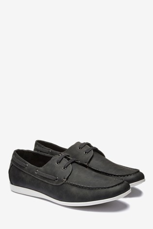 Grey Textured Boat Shoe