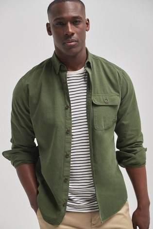 Khaki Regular Fit Ripstop Overdye Shirt