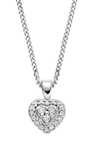 Beaverbrooks 9ct White Gold Diamond Heart Pendant