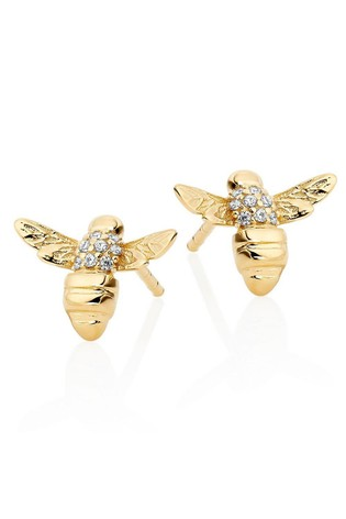 Beaverbrooks Silver Gold Plated Bee Earrings
