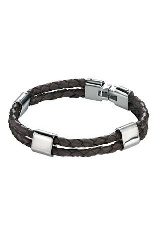 Beaverbrooks Men's Steel And Brown Leather Bracelet