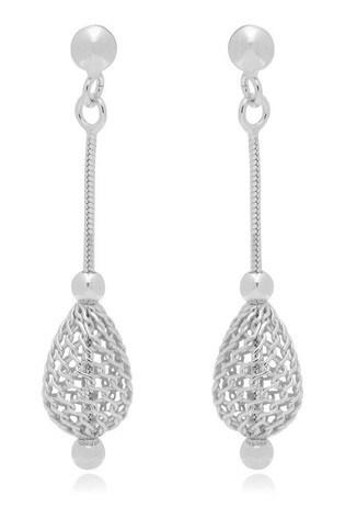 Beaverbrooks Silver Mesh Drop Earrings