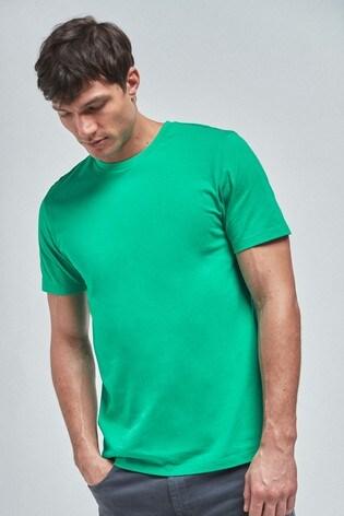 Bright Green Regular Fit Crew Neck T Shirt