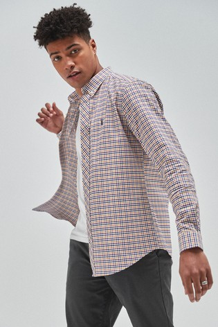 Purple Slim Fit Gingham Long Sleeve Stretch Oxford Shirt