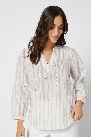 Neutral Broderie Stripe 3/4 Sleeve Overhead Blouse