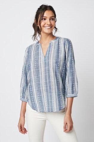 Blue Stripe 3/4 Sleeve Overhead Blouse