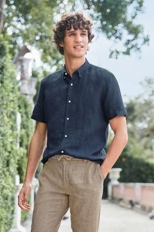 Navy Regular Fit Linen Blend Roll Sleeve Shirt
