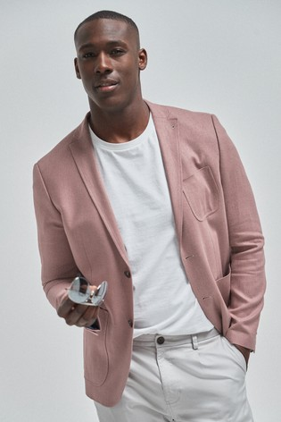 Pink Slim Fit Linen Blend Blazer