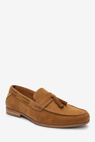 Tan Faux Suede Textured Tassel Loafers
