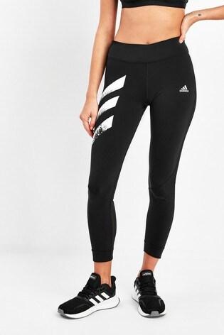 adidas Black Own The Run 3 Stripe Leggings