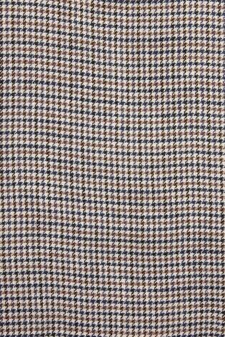 Taupe Slim Fit Nova Fides Signature Check Linen Blazer