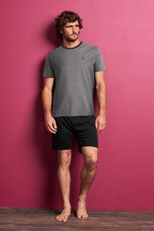 Grey Fine Stripe Short Pyjama Set