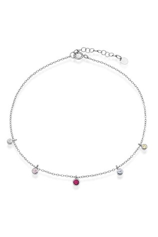 Beaverbrooks Sterling Silver Multicoloured Cubic Zirconia Anklet
