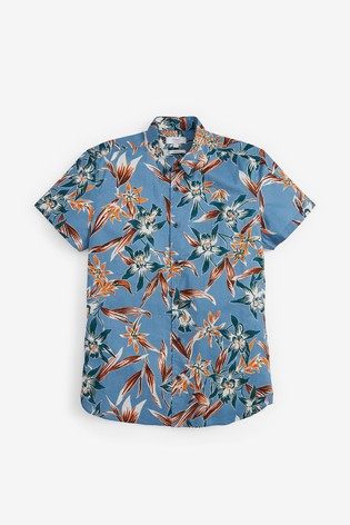 Blue Slim Fit Floral Print Shirt