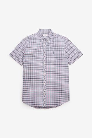Gingham Short Sleeve Regular Fit Stretch Oxford Shirt