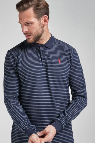 Navy Stripe Long Sleeve Pique Polo