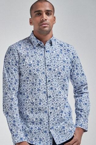 White Floral Long Sleeve Regular Fit Shirt