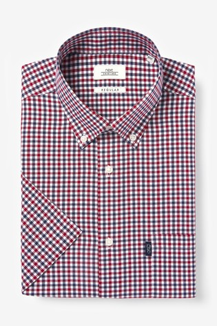 Red/Navy Gingham Check Regular Fit Short Sleeve Easy Iron Button Down Oxford Shirt