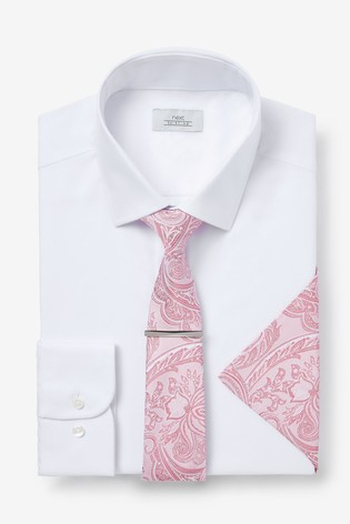 White/Pink Slim Fit Single Cuff Shirt, Tie And Tie Clip With Pocket Square Set