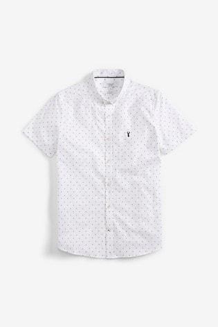 White Slim Fit Print Slim Fit Short Sleeve Stretch Oxford Shirt