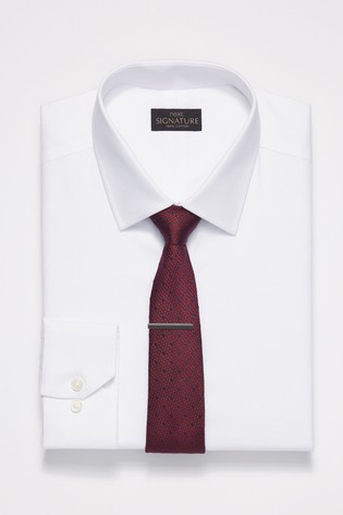 White Slim Fit Double Cuff Signature Textured Shirt
