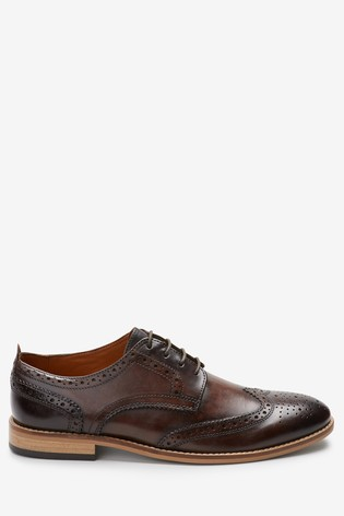 Brown Contrast Sole Leather Brogues