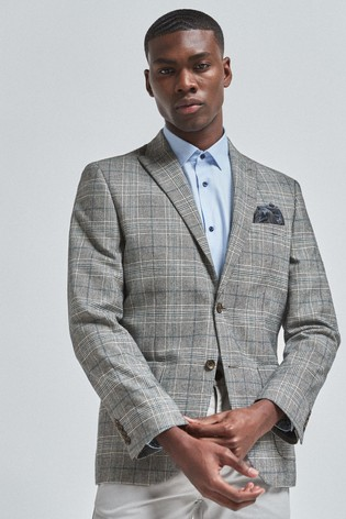 Grey/Blue Slim Fit Nova Fides Signature Slim Fit Check Blazer