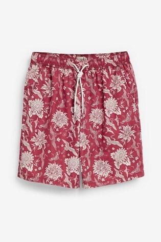 Red Crane Print Swim Shorts