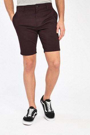 Burgundy Skinny Fit Stretch Chino Shorts
