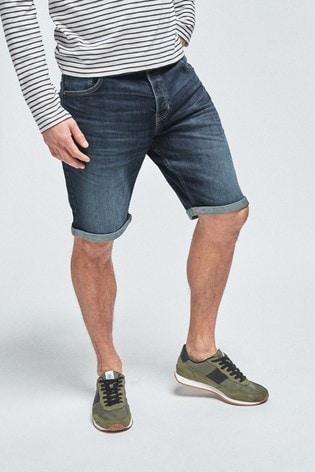 Dark Blue Straight Fit Vintage Wash Denim Shorts