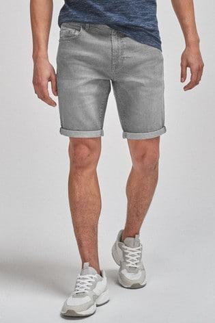 Grey Slim Fit Denim Shorts