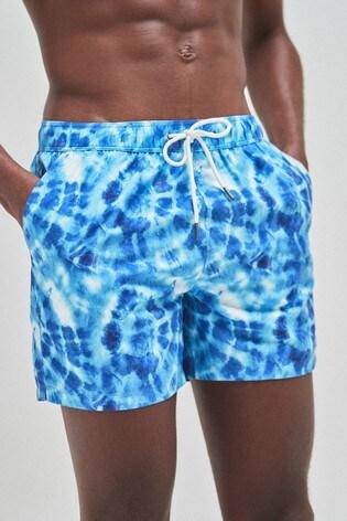 Blue Tie Dye Print Swim Shorts