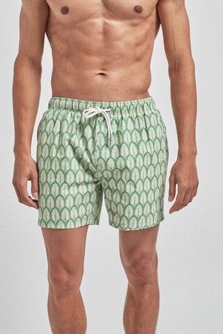 Green Leaf Print Swim Shorts