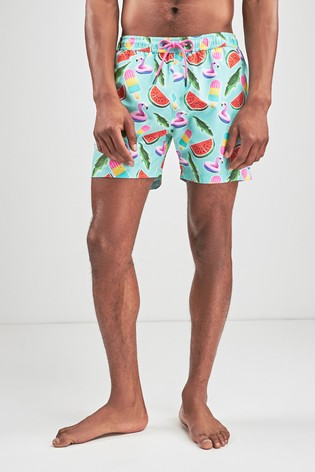 Green Matching Family Mens Inflatable Print Swim Shorts