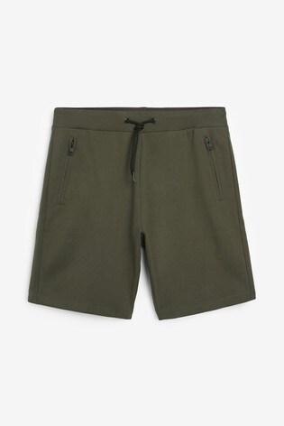 Khaki Zip Pocket Jersey Shorts