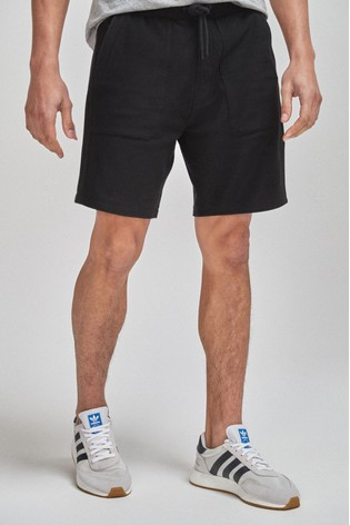 Black Cotton Twill Jersey Shorts