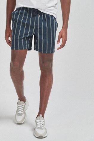 Navy Stripe Drawstring Waist Dock Shorts