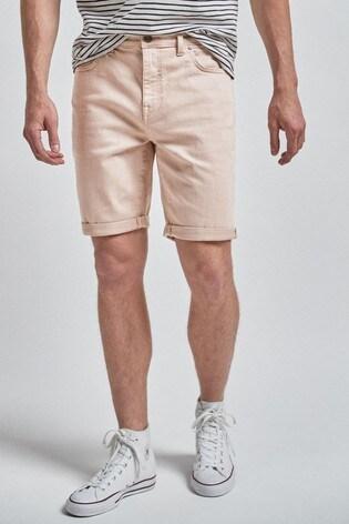 Washed Pink Slim Fit Denim Shorts