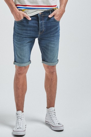 Dark Blue Skinny Fit Vintage Wash Denim Shorts