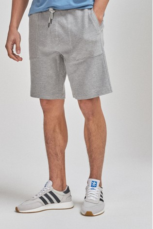 Grey Cotton Twill Jersey Shorts