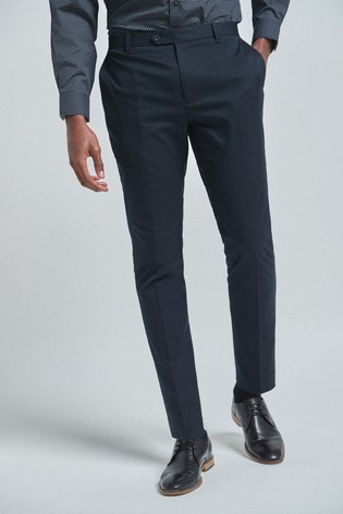 Navy Skinny Fit Trousers With Stretch