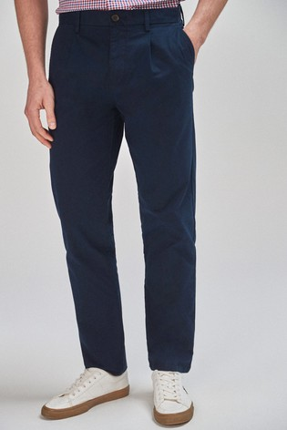 Navy Straight Fit Pleat Front Chinos