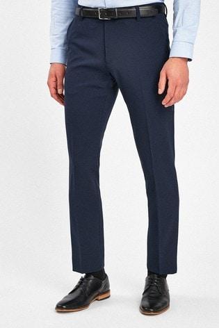 Dark Navy Slim Fit Belted Trousers