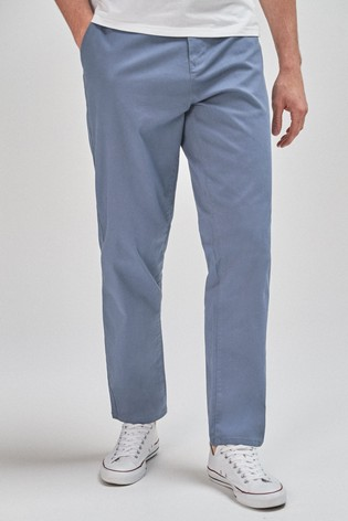 Light Blue Straight Fit Stretch Chinos